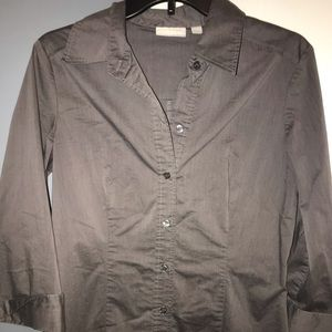 NEW YORK & COMPANY Button Down Shirt Stretch Grey